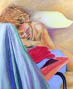 Sleeping model. Pastel on paper